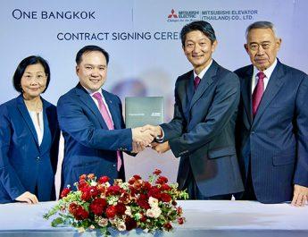 """""""มิตซูบิชิ เอลเลเวเตอร์"""" ได้รับความมั่นใจจาก วัน แบงค็อกทำสัญญาติดตั้งลิฟต์และบันไดเลื่อน พร้อมลิฟต์แบบห้องโดยสารคู่ ตัวแรกในประเทศไทย"""